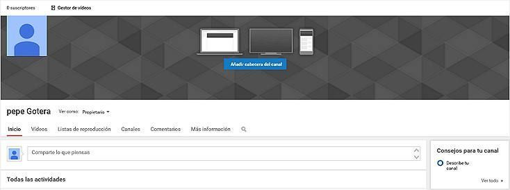 5-canal youtube vacio