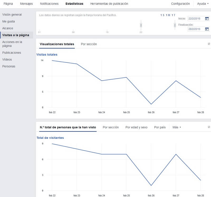 "Facebook insights ""Visitas a la página"""